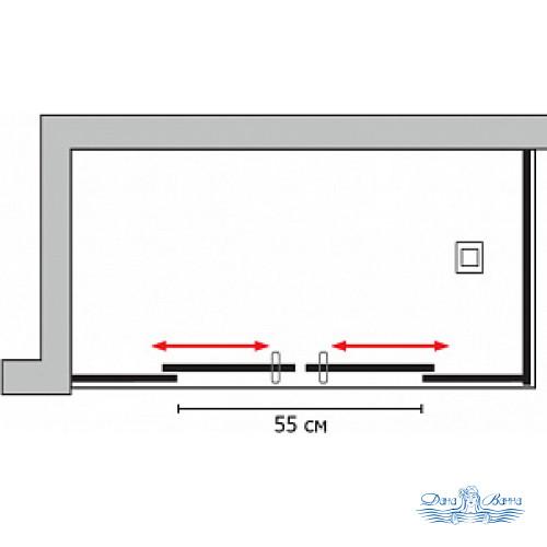 Душевой уголок GuteWetter Slide Rectan GK-865 левая 130x90 профиль хром