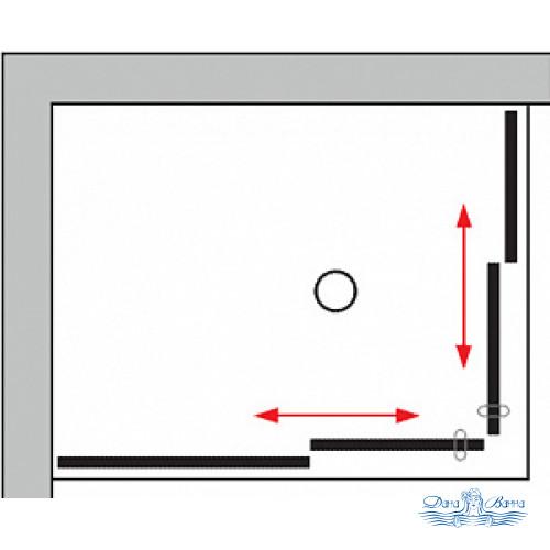 Душевой уголок GuteWetter Slide Rectan GK-864 левая 90x75 профиль хром