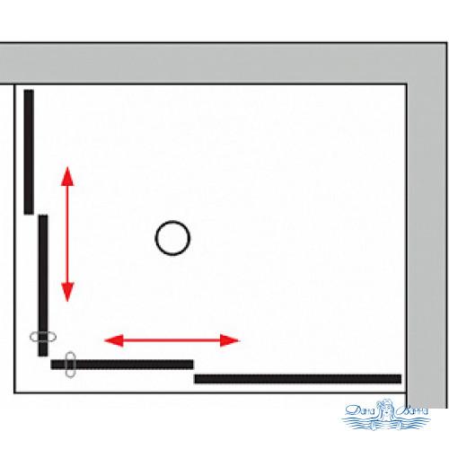 Душевой уголок GuteWetter Slide Rectan GK-864 правая 95x75 профиль хром