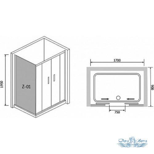 Душевой уголок RGW Passage PA-41 170х90 профиль хром, стекло матовое