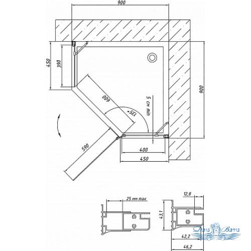 Душевой уголок Vegas Glass AFA-Pen 90 07 10 R профиль хром, стекло сатин