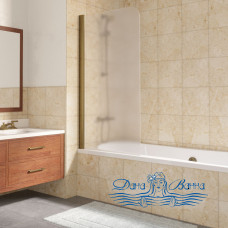 Шторка на ванну Vegas Glass EV Lux 75 05 10 L профиль бронза, стекло сатин