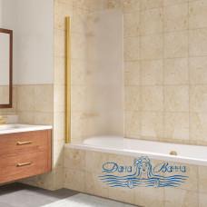 Шторка на ванну Vegas Glass EV Lux 75 09 10 L профиль золото, стекло сатин