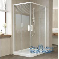 Душевой уголок Vegas Glass ZA-F 100х80 01 01 профиль белый, стекло прозрачное