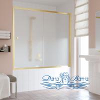 Шторка на ванну Vegas Glass ZV 160 09 10 профиль золото, стекло сатин