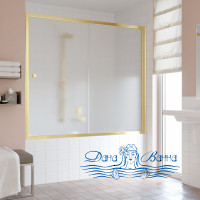 Шторка на ванну Vegas Glass ZV 170 09 10 профиль золото, стекло сатин