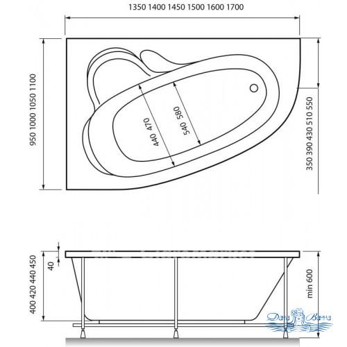 Акриловая ванна Relisan Ariadna 170х110