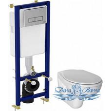 Комплект Чаша для унитаза подвесного Ideal Standard Ecco W740601 + Система инсталляции Ideal Standard W3710AA 4 в 1 + Крышка-сиденье петли хром