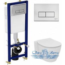 Комплект Чаша Ideal Standard Connect AquaBlade E047901 + Инсталляция Ideal Standard W3710AA 4 в 1 + Крышка-сиденье с микролифтом