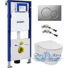 Комплект Чаша Ideal Standard Connect AquaBlade E047901 + Крышка-сиденье + Инсталляция Geberit UP320 111.300.00.5 + Кнопка+ Шумоизоляция + Крепления