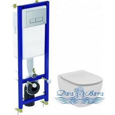 Комплект Чаша Ideal Standard Tesi T007901 + Крышка-сиденье с микролифтом + Инсталляция Ideal Standard W3710AA 4 в 1 с кнопкой смыва
