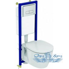 Комплект Ideal Standard W880101 унитаз + инсталляция с кнопкой смыва