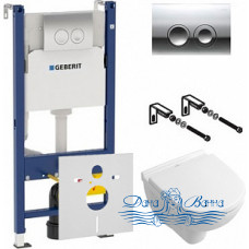 Комплект Система инсталляции для унитазов Geberit Duofix Delta 458.124.21.1 3 в 1 с кнопкой смыва + Унитаз подвесной Villeroy & Boch O Novo 5688 H1 0