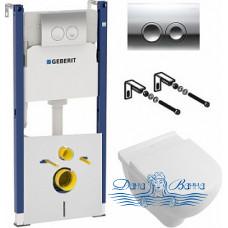 Комплект Система инсталляции для унитазов Geberit Duofix Delta 458.124.21.1 3 в 1 с кнопкой смыва + Унитаз подвесной Villeroy & Boch O'Novo 5660HR01