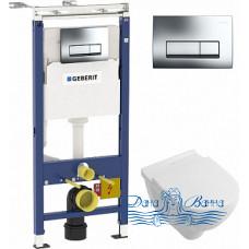 Комплект Система инсталляции для унитазов Geberit Duofix Платтенбау 458.125.21.1 4 в 1 с кнопкой смыва + Унитаз подвесной Villeroy & Boch O'Novo 5660