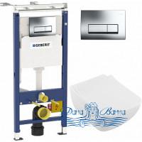 Комплект Система инсталляции для унитазов Geberit Duofix Платтенбау 458.125.21.1 4 в 1 с кнопкой смыва + Унитаз подвесной Villeroy & Boch Venticello