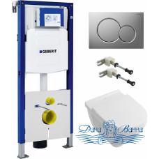 Комплект  Система инсталляции для унитазов Geberit Duofix UP320 111.300.00.5 + Унитаз подвесной Villeroy & Boch O'Novo 5660HR01 alpin, безободковый