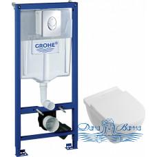 Комплект Система инсталляции для унитазов Grohe Rapid SL 38721001 3 в 1 с кнопкой смыва + Унитаз подвесной Villeroy & Boch O'Novo 5660HR01 alpin, без