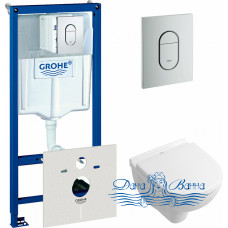 Комплект Система инсталляции для унитазов Grohe Rapid SL 38929000 4 в 1 с кнопкой смыва + Унитаз подвесной Villeroy & Boch O Novo 5688 H1 01 alpin, с