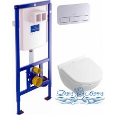 Комплект Система инсталляции для унитазов Villeroy & Boch 9224 6100 + Унитаз подвесной Villeroy & Boch O Novo 5688 H1 01 alpin, с микролифтом + Кнопк