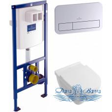 Комплект Система инсталляции для унитазов Villeroy & Boch 9224 6100 + Унитаз подвесной Villeroy & Boch O'Novo 5660HR01 alpin, безободковый + Кнопка с