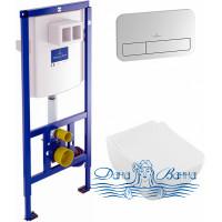 Комплект Система инсталляции для унитазов Villeroy & Boch 9224 6100 + Унитаз подвесной Villeroy & Boch Venticello 4611RS01 безободковый + Кнопка смыв