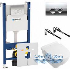 Комплект Унитаз подвесной Villeroy & Boch O'Novo 5660 H101 alpin + Инсталляция Geberit Duofix Delta 458.124.21.1 3 в 1 с кнопкой смыва + Шумоизоляция