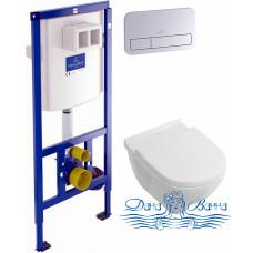 Комплект Унитаз подвесной Villeroy & Boch O'Novo 5660 H101 alpin + Система инсталляции для унитазов Villeroy & Boch 9224 6100 + Кнопка смыва Villeroy