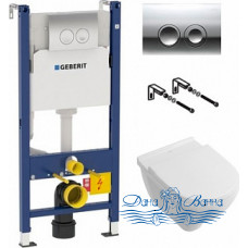 Комплект Унитаз подвесной Villeroy & Boch O'Novo 5660 H1R1 alpin + Система инсталляции для унитазов Geberit Duofix Delta 458.124.21.1 3 в 1 с кнопкой