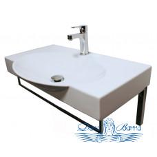 Раковина Sanita Lux Infinity (INF76SLWB01KR) (76 см) с кронштейнами и полотенцедержателем