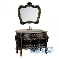 Тумба для ванной Demax Афины 120 черный матовый патина золото