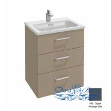 Тумба для ванной Jacob Delafon Vox (60 см) (серый антрацит лак) (изогнутая ручка) (3 ящика)