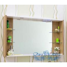 Зеркальный шкаф Sanflor Ларго 120 (белый/вяз швейцарский)